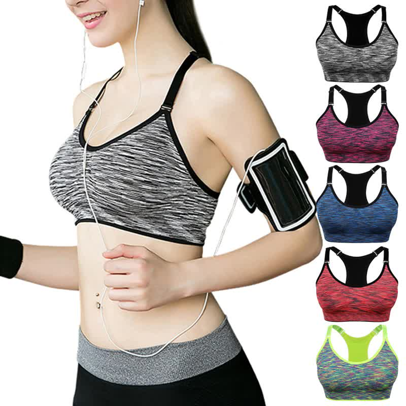 VEQKING Quick Dry Padded Sports Bra,Women Wirefree Adjustable Fitness Top Sport Brassiere,Push Up Seamless Running Yoga Bra