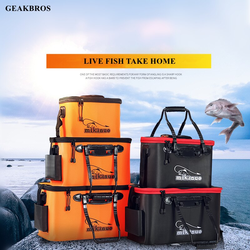 Fishing Bag Collapsible Fishing Bucket Live Fish Box Camping Water Container Pan