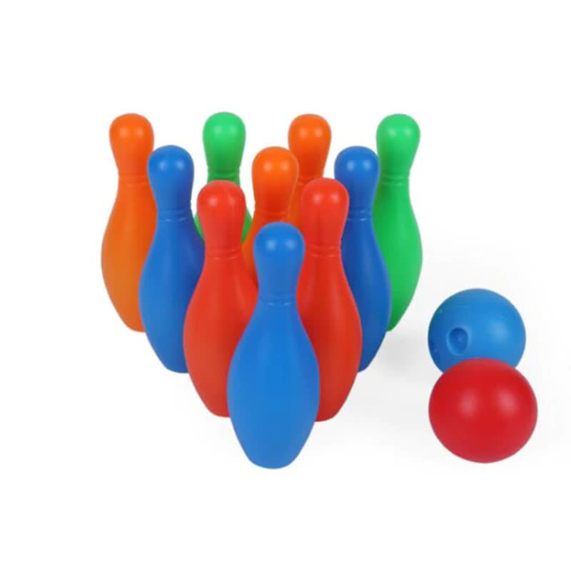 Colorful 12 Piece Bowling Set 10 Pins 2 Bowling Balls Children Kids Educational Toy Fun Family Game