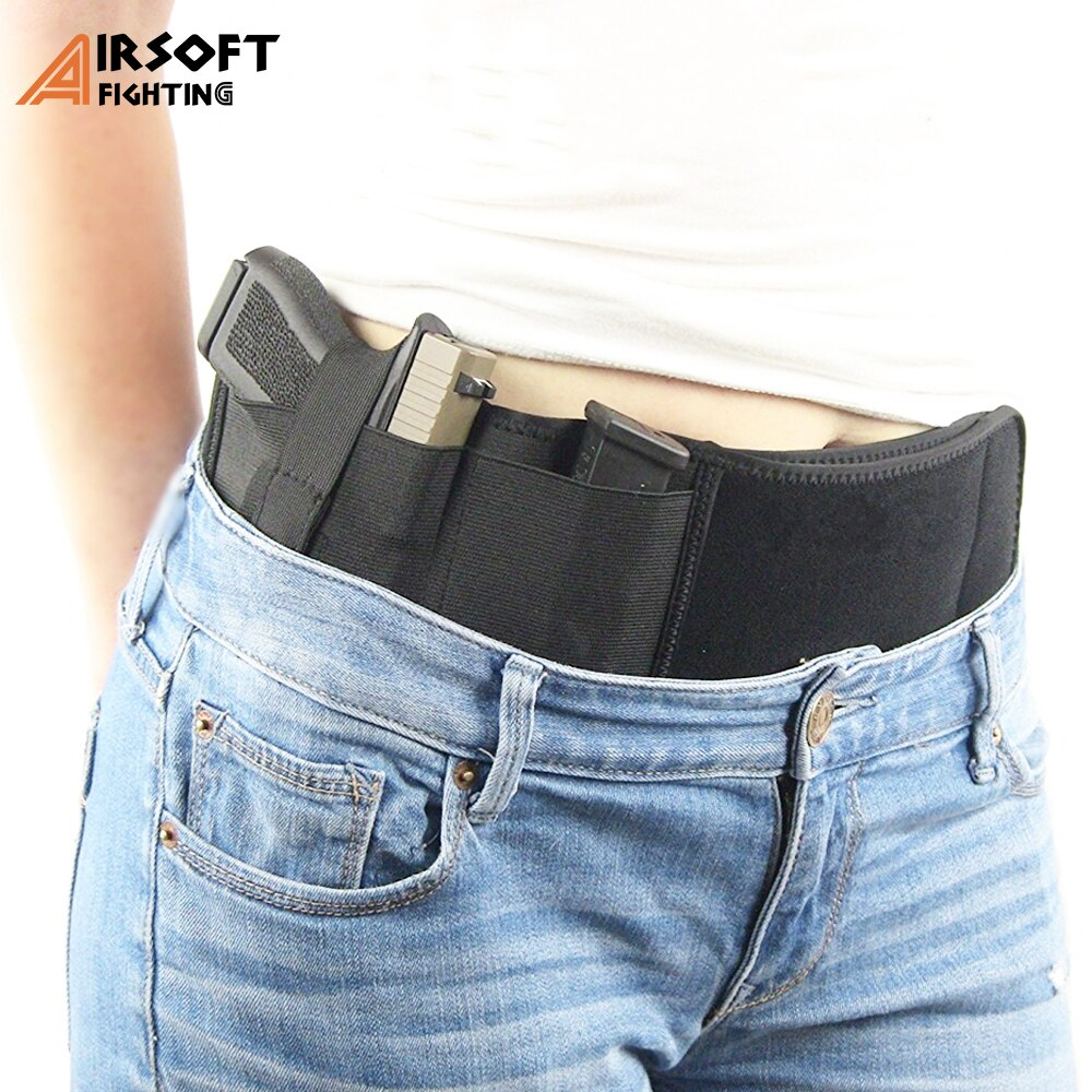 Concealed-Carry Airsoft Pistol Gun Holster Universal Handgun Waist Band Tactical Invisible Elastic Pistol Holster Holder