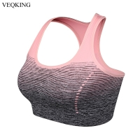 VEQKING Gradient High Stretch Sports Bras,Women Quick Dry Padded Sports Top for Fitness,Yoga Running Gym Seamless Sport Bra Top