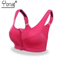 Yomay Professional Women Sport Bra Zipper Front Running Yoga Sports Bra Push Up Shockproof Wirefree Crop Top Fitness Vest