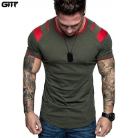 GITF Men Running Breathable t shirt Gym Fitness Workout Training Short sleeve T-shirts Male Jogging Slim Quick dry Tee Tops Man