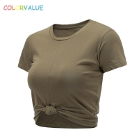 Colorvalue Summer Slim Fit O-neck Sport T-shirts Women Kink Design Fitness Workout Crop Top Leisure Cotton Short Sleeve Shirts