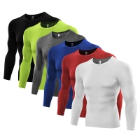 1PC Mens Compression Under Base Layer Top Long Sleeve Tights Sports Running T-shirts