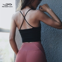 Mermaid Curve Sexy Crop Top Sports Tank Women Cross Shoulder Strap Gym Sports Running Jogger Vest Sexy Yoga Padded Tops Camisole