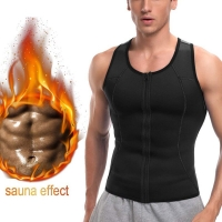 Vertvie Men Sauna Running Vest Neoprene Slim Waist Trainer Body Control Bodysuit Zippered Workout  Loss Corset Shapewear
