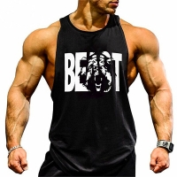Gym Brand clothing Golds Bodybuilding Fitness Mens running tanks workout BEAST print vest Stringer sportswear muscle undershirt