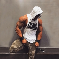 2019 New Men Cotton Tank top Undershirt Gyms Fitness Hooded Vest Sleeveless Sport Tank Top Workout Running Vest men