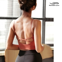 Mermaid Curve Crop Top Sports Tank Women Fitness Gym Push Up Bra Sports Running Jogger Vest Sexy Yoga Padded Tops Camisole