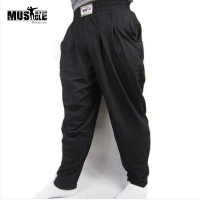 MUSCLE ALIVE Men's Baggy Pants For Bodybuilding Loose Workout Trouser Cotton High Elastic For Fitness Bodybuilder Gym Clothing