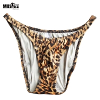 Men's Gym Posing Trunk Bodybuilding Fitness Training Exercise Competition Shorts Snake Leopard Print MUSCLE ALIVE Spandex Nylon