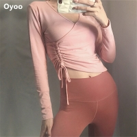 Oyoo Pink Draw String Sport Top Black Long Sleeves Running Shirts Cotton Yoga Top Women Sexy Workout Crop Top Sports Jerseys