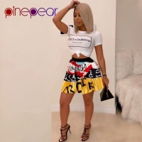 PinePear Character Print Letter Pleated Thin Skirt Women Fashion Colourful Ruched Draped Tennis Skirts Sport Skirt Drop Shipping