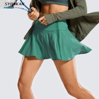 SYROKAN Women's Active Sport Skirted Shorts Pleated Tennis Golf Skirt with Pockets