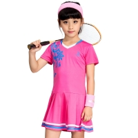 Children's Tennis Badminton Dress Girls Breathable Quick-drying Summer Tennis Suit Sports Dress with Short Pants