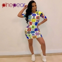 PinePear Colourful Letters Print Short Sleeve Sport Dress 2019 Women Bodycon Long T-Shirt Tennis Dress Sportswear Drop Shipping