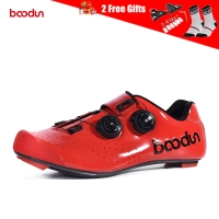 Boodun Men's Cycling Shoes Carbon Fiber Sole Road Bike Shoes Breathable Self-Locking Racing Bicycle Shoes with Cycling Cleats