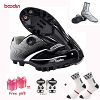 BOODUN New Men Bicycle Mountain Bike Shoes Non-slip Self-locking Cycling Shoes Mirror Superfiber mtb Shoes Sapatos de ciclismo