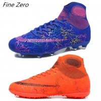 New Adults Men's Outdoor Soccer Cleats Shoes High Top TF/FG Football Boots Training Sports Sneakers Student's Original Cleats