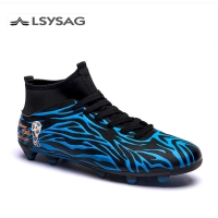 FG/TF Soccer Shoes Long Spikes High Top Ankle Football Boots Outdoor for Men Adults Kids Athletic Training Sock Cleats 36-44