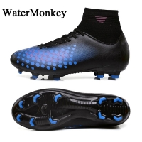 WaterMonkey Fashion Adult Soccer Shoes Outdoors Grass Soccer Boot Long Spike Football Shoes Cleats Shoes High Top Football Boots