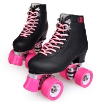 Double row skates, four-wheels adult roller skating rink, metal-soled, black shoes, pink wheel, Street roller skates