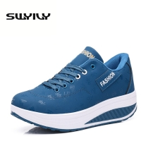 PU  Lacing Women Toning Shoes 5.5CM Thick Soles Height Increased Breathable Wedges Swing Sneakers 2017 New Autumn Slmming Shoes