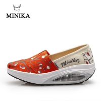 2019 Minika Fitness Shoes Women Sport Swing Wedges Platform Zapatos Mujer Canvas Trainers Loss Weight Feminino Toning Shoes