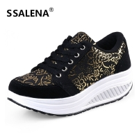 Women Toning Shoes Height Increasing Fitness Swing Shoes Female Platform Breathable Slimming Shoes Sports Sneakers #B2482
