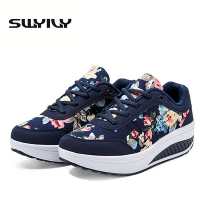 Breathable Women Toning Shoes Flower Printed Comfortable Thick Soles Heighten Swing Shoes Platform Wedge Sneakers