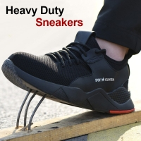 1 Pair Heavy Duty Sneaker Safety Work Shoes Breathable Anti-slip Puncture Proof for Men DX88