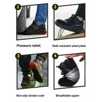 1 Pair Heavy Duty Sneaker Safety Work Shoes Breathable Anti-slip Puncture Proof for Men FG66