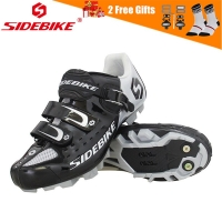 SIDEBIKE Pro Men's Mountain Bike Shoes MTB Cycling Shoes Self-Locking Riding Bicycle Shoes with Mesh Holes and hook & loop