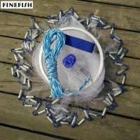 Finefish Aluminum ring USA cast nets 2.4m -4.8m easy throw fly fishing net tool small mesh outdoor hand throw catch fish network