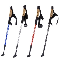 2Pcs/lot Anti Shock Nordic Walking Sticks Telescopic Trekking Hiking Poles Ultra Walking Canes With Rubber Tips Adjustable Bands
