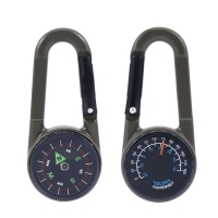 1 pc Keychain Multifunctional Hiking Metal Carabiner Mini Compass Thermometer sporting outdoor goods Random Color