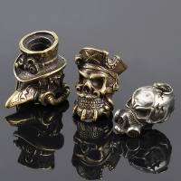 Crow EDC DIY Knife Beads Pendant Vintage Color Brass Outdoor Tools White Brass Skull Paracord Beads