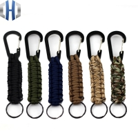 EDC 1PC Outdoor Survival Kit Parachute Cord Keychain Military Emergency Paracord Rope Carabiner For Keys 140kg Tensile Strength