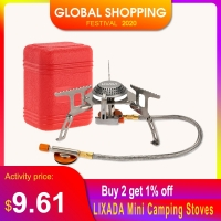 LIXADA Mini Camping Stoves Folding Outdoor Gas Stove Portable Furnace Cooking Picnic Split Stoves 3000W Cooker Burners 17*7cm