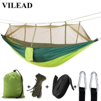 VILEAD 260*140 cm Camping Hammock with Mosquito Portable Stable High Strength Cavans  Hanging Bed Sleeping Hiking Camping Cot