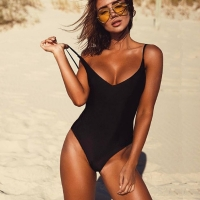 2020 women Swimwear Sexy high cut one piece swimsuit Backless swim suit Black White Red  thong Bathing suit female Monokini 2741
