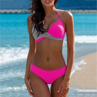 Sexy Bikinis Women Swimsuit High Waisted Bathing Suits Swim Halter Push Up Bikini Set Pachwork Plus Size Swimwear Beachwear #815