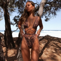 Summer New Sexy Women One Piece Serpentine Leopard Printed Monokini Bandage Bathing Suit Push Up Padded Bikini Swimsuit Swimwear