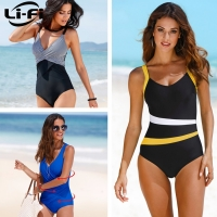 LI-FI 2019 One Piece Swimsuit Women Classic Vintage Swimwear Sliming Push Up Bathing Suit Summer Swimming Suit Beachwear XXL