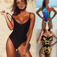 2021 Sexy One Piece Swimsuit Women Swimwear Female Solid Black Thong Backless Monokini Bathing Suit XL
