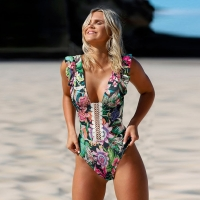 2020 Sexy Print Swimwear Women Swimsuit Backless One Piece Swimsuit Bandage Beachwear Ruffle Bathing Suit Swim Monokini