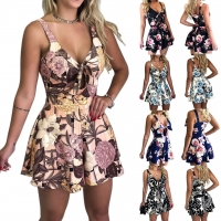 Jumpsuit Women 2019 Jumpsuit Summer Floral Print Sleeveless V Neck Bow Sexy Vintage Jumpsuits Playsuit combishort