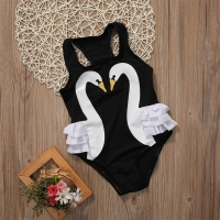 2-7T Hot Summer Children Kids Swimwear Girls 3D Swan Print One Pieces Swimsuit Flower Halter Beach Pool Swimwear Bathing Suit