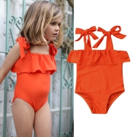 New Lovely Toddler Kid Baby Girls Yellow Bikini One-Piece Suits Off Shoulder Lace Up Swimwear Swimsuit Beachwear Bathing Suit